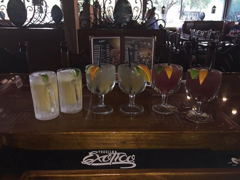 drinks lined up on the bar