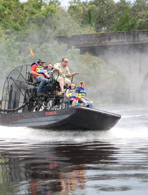people on an airboat tour